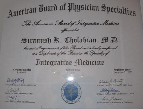 Diplomate of the American Board of Integrative Medicine